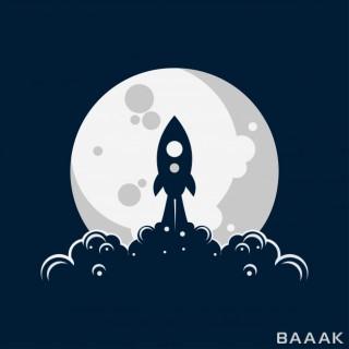 راکت در حال پرتاب با پس زمینه ماه