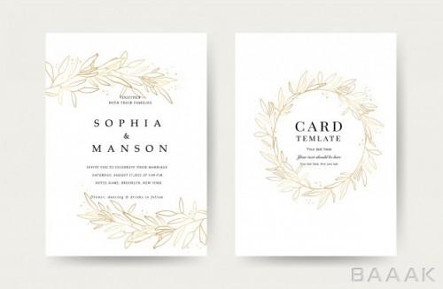 قالب لوکس کارت دعوت عروسی با پس زمینه گلدار