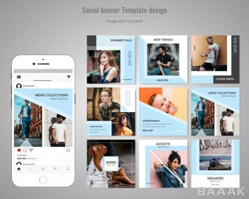 شبکه اجتماعی زیبا و خاص Fashion social media post template