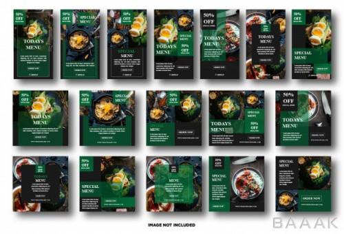 شبکه اجتماعی زیبا و جذاب Set instagram story social media post template food promotion