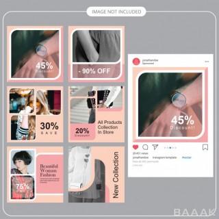 شبکه اجتماعی خاص و مدرن Fashion social media post template