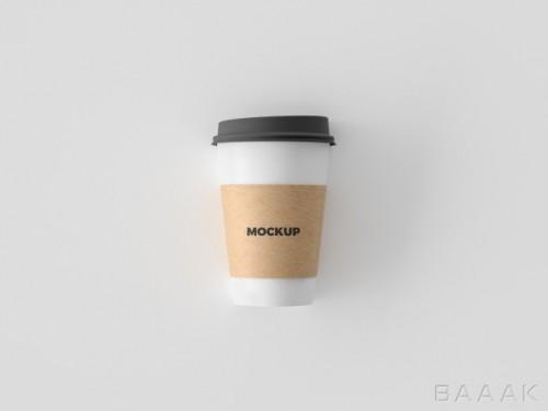 موکاپ  زیبای لیوان کاغذی ساده قهوه ی