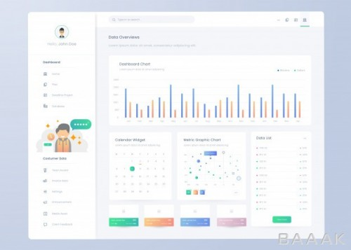 اینفوگرافیک جذاب Infographic dashboard panel template ui ux design