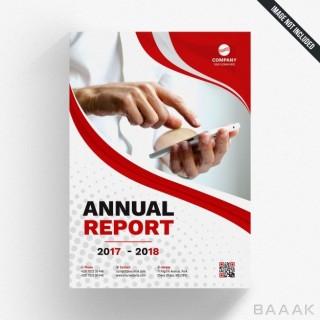 تراکت خاص Red wavy annual report template