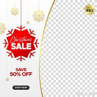 قاب جذاب Square christmas sale banner web instagram social media with empty frame
