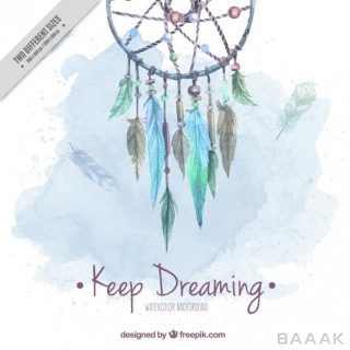 پس زمینه جذاب و مدرن Watercolor cute background with dream catcher