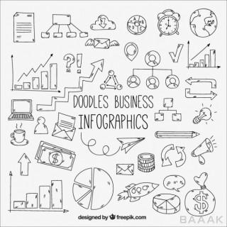 اینفوگرافیک خلاقانه Pack doodles business infographic