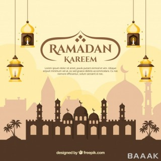 پس زمینه جذاب و مدرن Ramadan background with mosque lamps flat style