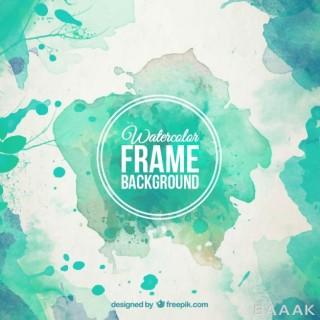 پس زمینه پرکاربرد Watercolor frame background turquoise tones