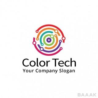 لوگو جذاب Technological logo with circular shapes