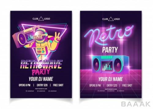 تراکت خاص و خلاقانه Retrowave music party nightclub cartoon ad poster flyer poster template neon colors