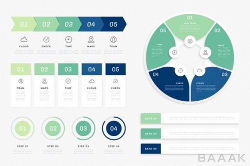 اینفوگرافیک زیبا Flat infographic element collection
