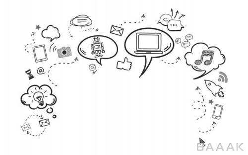 شبکه اجتماعی مدرن و جذاب Illustration social media concept