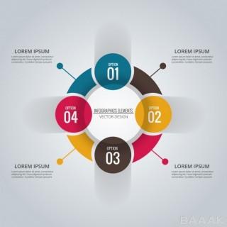اینفوگرافیک زیبا و جذاب Infographic circle with four options