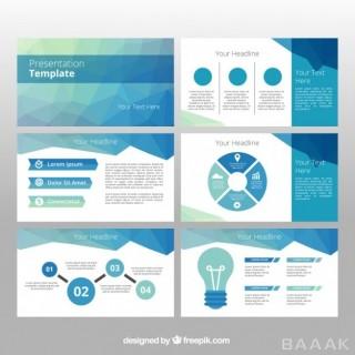اینفوگرافیک فوق العاده Polygonal business template with infographic elements