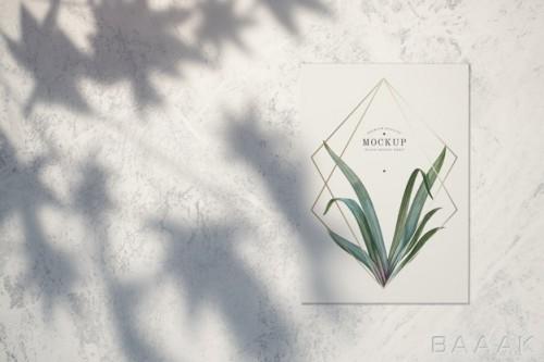 موکاپ خاص Premium quality card mockup with leaves golden frames