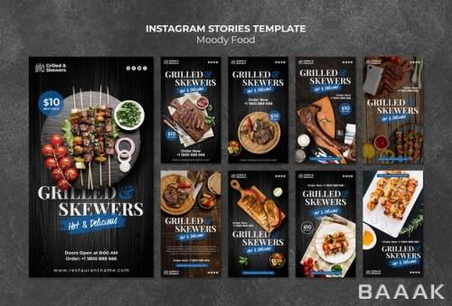 اینستاگرام خاص Grilled skewers restaurant instagram stories template