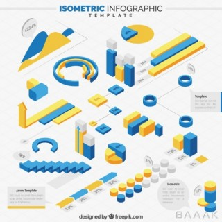 اینفوگرافیک خلاقانه Isometric infographic template with coloured elements