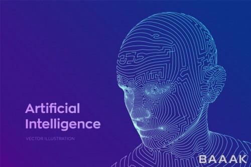 قاب پرکاربرد Abstract wireframe digital human face human head robot digital computer interpretation