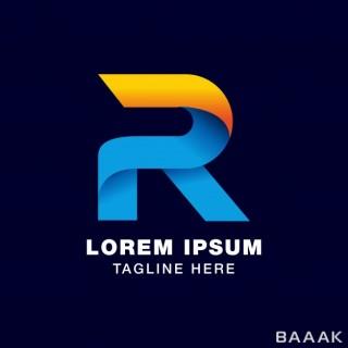 لوگو مدرن و خلاقانه 3d letter r logo template gradients style