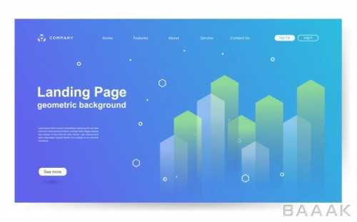 پس زمینه خاص و خلاقانه Website template with geometric shape background