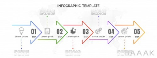 اینفوگرافیک زیبا و جذاب Minimal arrows timeline infographic step