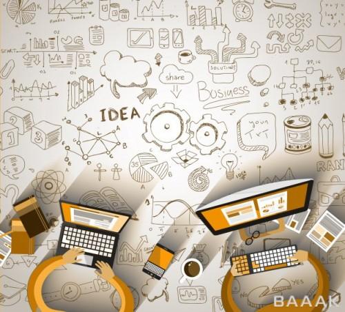 اینفوگرافیک خاص و مدرن Infographics teamwork with business doodles sketch