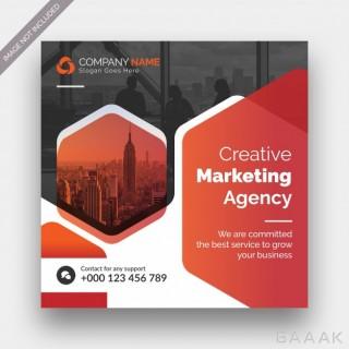 قالب مربعی بنر و پست شبکه های اجتماعی برای آژانس های بازاریابی دیجیتالی با عکس سختمان ها و برج های اداری