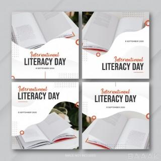 قالب پست های باندل اینستاگرام برای روز جهانی سواد آموزی به همراه عکس کتاب