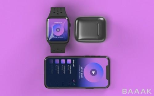موکاپ اسمارت فون و گجت های آن مثل ساعت هوشمند و هدست از نمای بالا