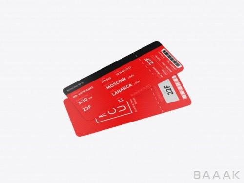 موکاپ کارت های پرواز قرمز رنگ