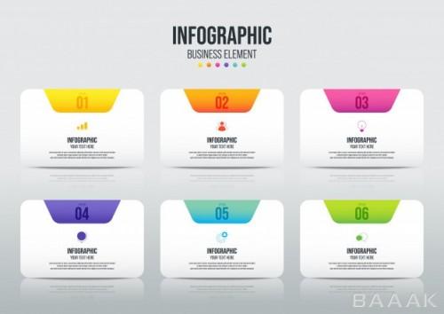 قالب اینفوگرافیک انتزاعی 6 مرحله ای به صورت جداگانه