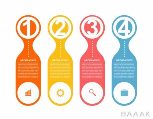 قالب اینفوگرافیک چهار مرحله ای رنگارنگ به همراه اعداد