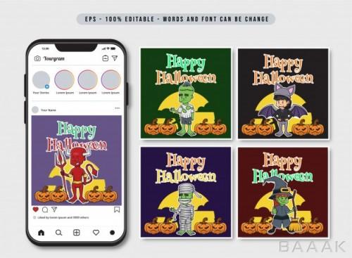 قالب پست اینستاگرام برای تبریک هالووین