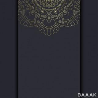 پس زمینه مشکی رنگ با طرح های طلایی رنگ عربی با استایل ماندالا