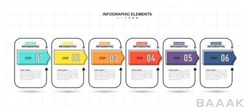 قالب اینفوگرافیک شش مرحله ای رنگارنگ