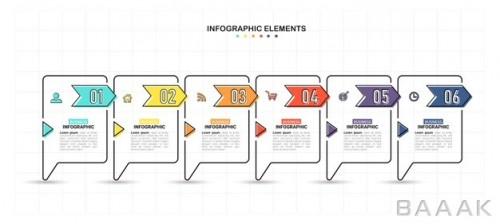 قالب اینفوگرافی شش مرحله ای رنگارنگ