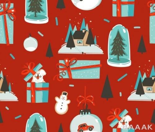 پترن وکتوری با تم زمیتانی و کریسمس