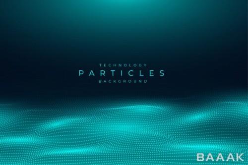 پس زمینه انتزاعی مدرن با موضوع تکنولوژی و ذرات مواج فیروزهای رنگ