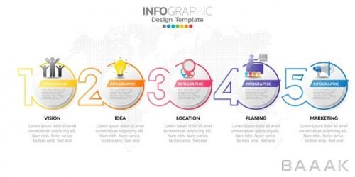 اینفوگرافیک 5 قسمتی مدرن همراه با آیکون و پس زمینه نقشه جهان برای تبلیغات و ارائه