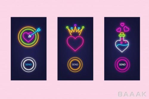 مجموعه تصاویر قلب با استایل نئون مناسب اپلیکیشن موبایل
