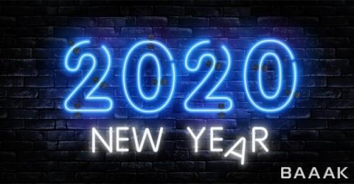 تبریک سال 2020 میلادی با استایل نئون