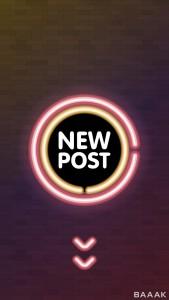 بنر تبلیغاتی با دایره نئونی و موضوع پست جدید در اینستاگرام