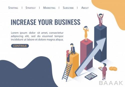 تصویر ایزومتریک صفحه فرود (لندینگ پیج) وب سایت با موضوع رشد کسب و کار