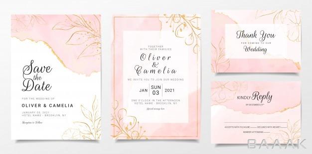 -مجموعه-قالب-کارت-دعوت-عروسی-با-زمینه-رزگلد-و-گلهای-طلایی_394067767