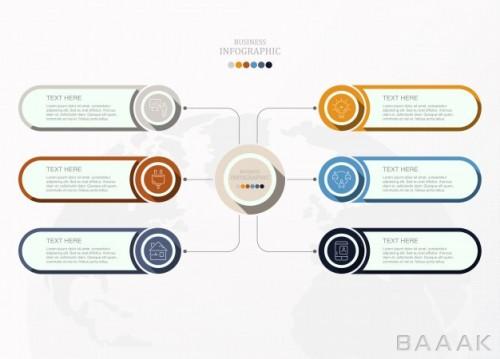 قالب اینفوگرافیک 6 قسمتی همراه با خطوط اتصال و آیکون برای ارائه و کسب و کار
