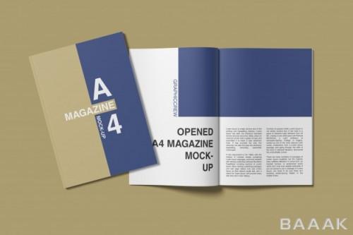 موکاپ کاور و صفحات اولیه مجله در سایز A4