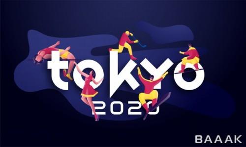 تصویر پس زمینه جذاب با موضوع المپیک سال 2020 توکیو