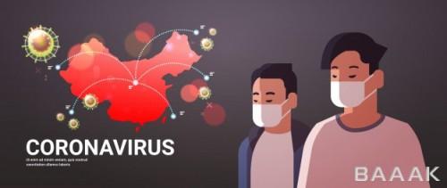تصویر مردان با ماسک و موضوع ویروس کرونا در شهر ووهان چین