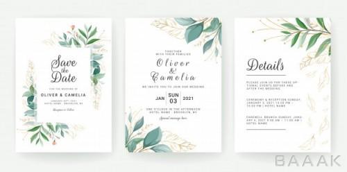 قالب کارت دعوت عروسی با زمینه برگ سبز و طلایی